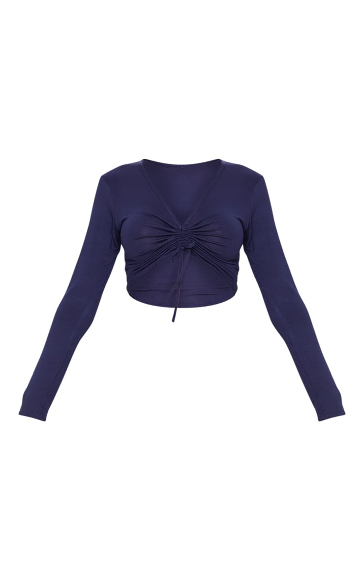 Navy Jersey V Ruched Long Sleeve Crop Top 3