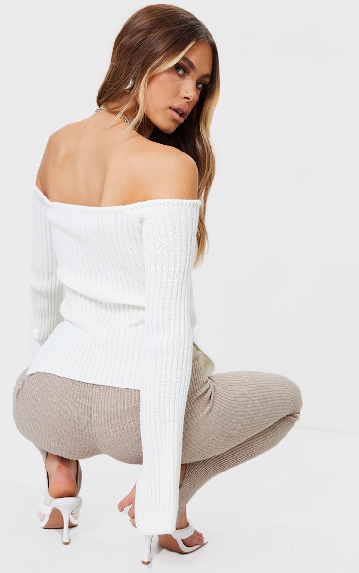 Cream Off Shoulder Sweetheart Neckline Knitted Jumper 2