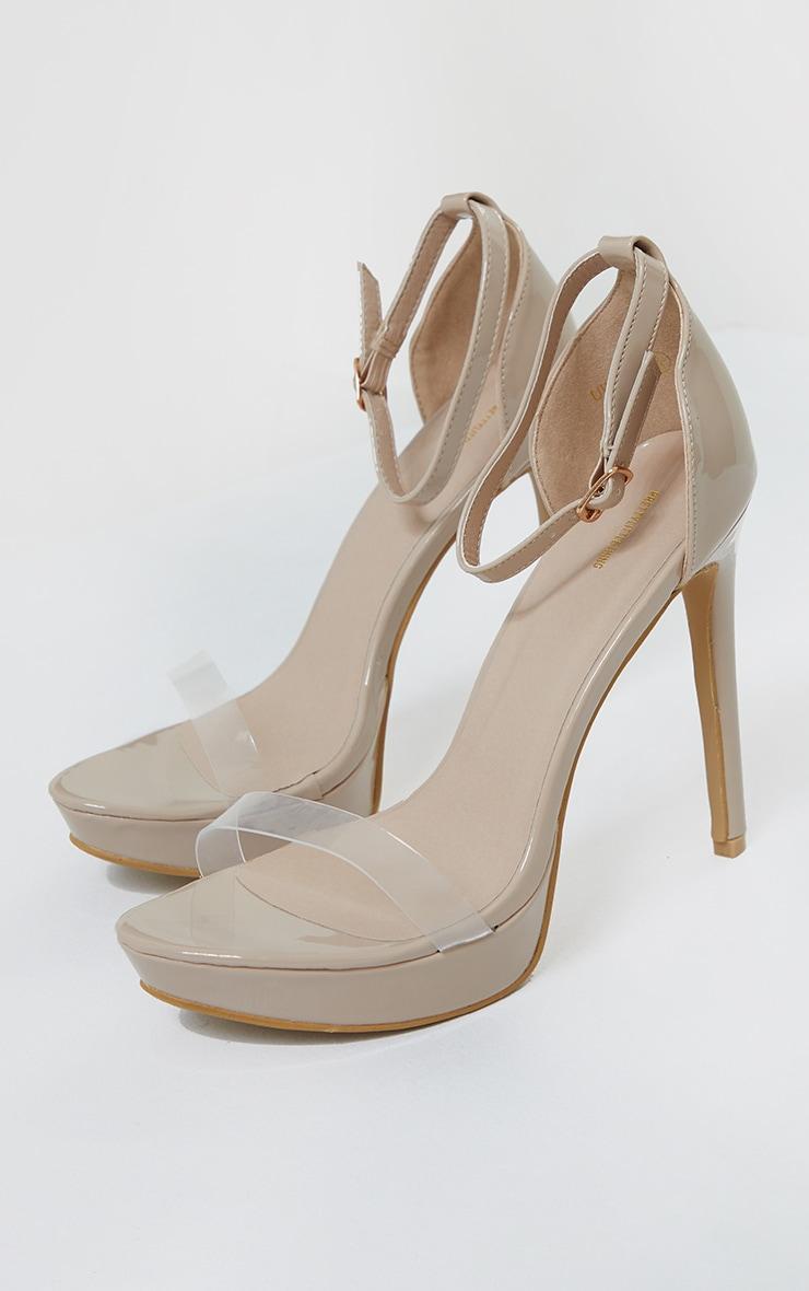 Nude Clear Strap Platform Heeled Sandals 3