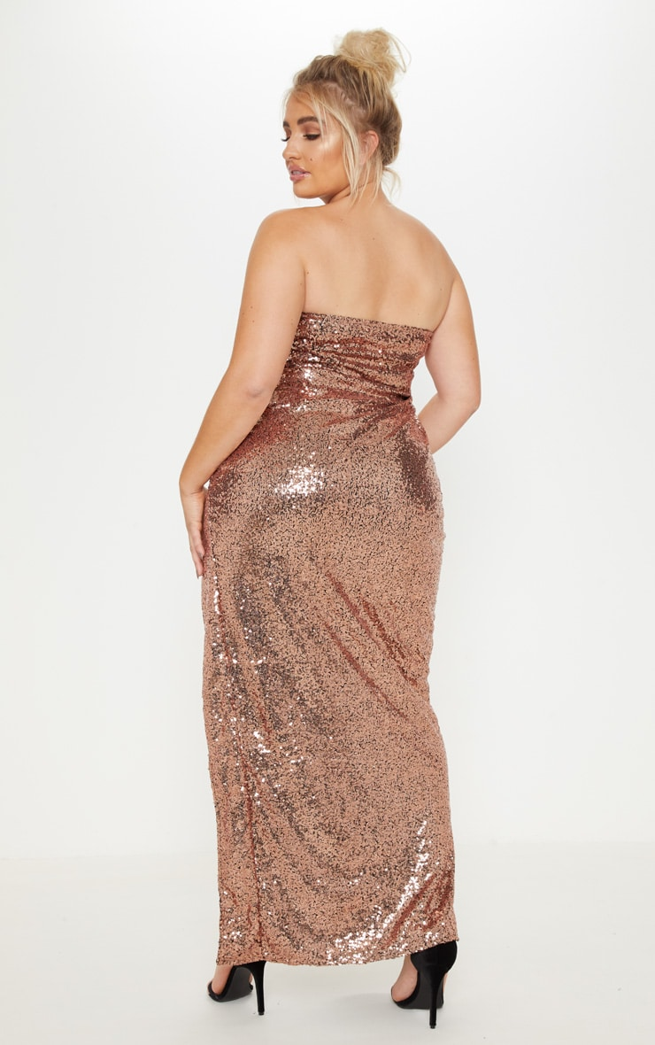 Plus Bronze Bandeau Sequin Split Front Maxi Dress 2