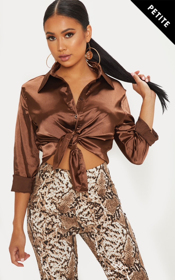 Petite Chocolate Brown Satin Shirt
