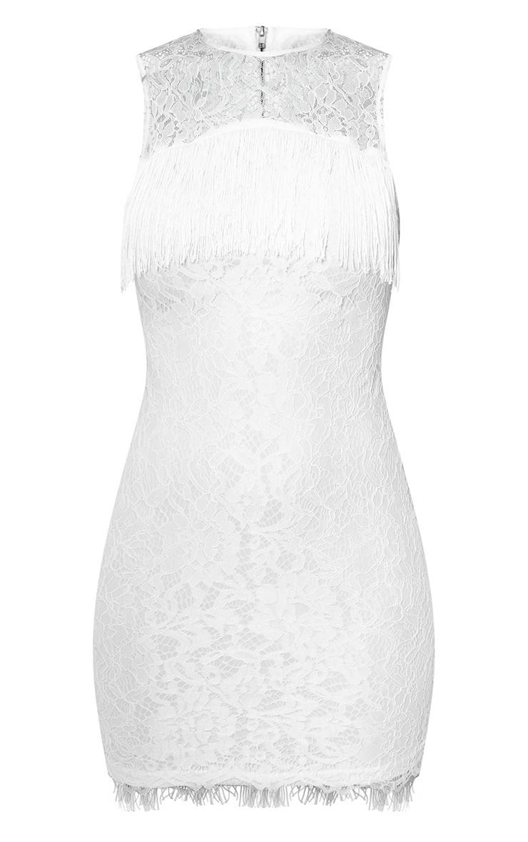 White Lace Fringe Detail Bodycon Dress 3