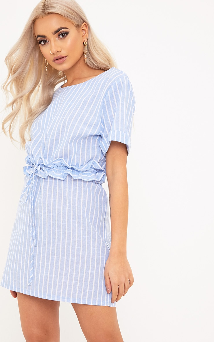Kendrick Blue Pinstripe Frill Waist Detail Shift Dress 4
