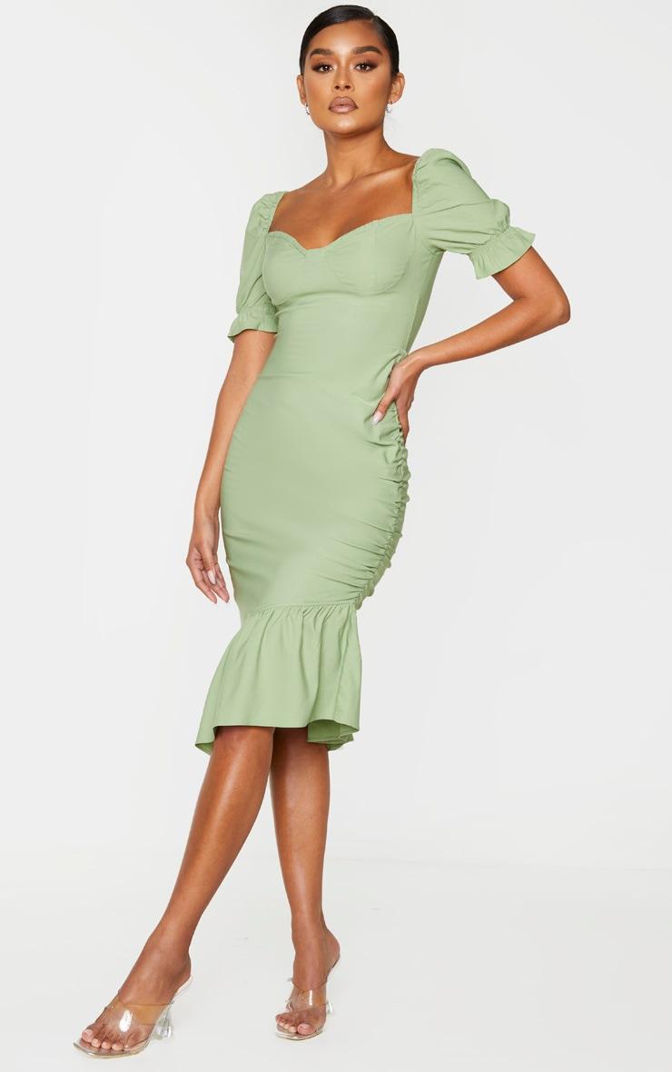 Sage Green Puff Sleeve Frill Hem Midi Dress 3