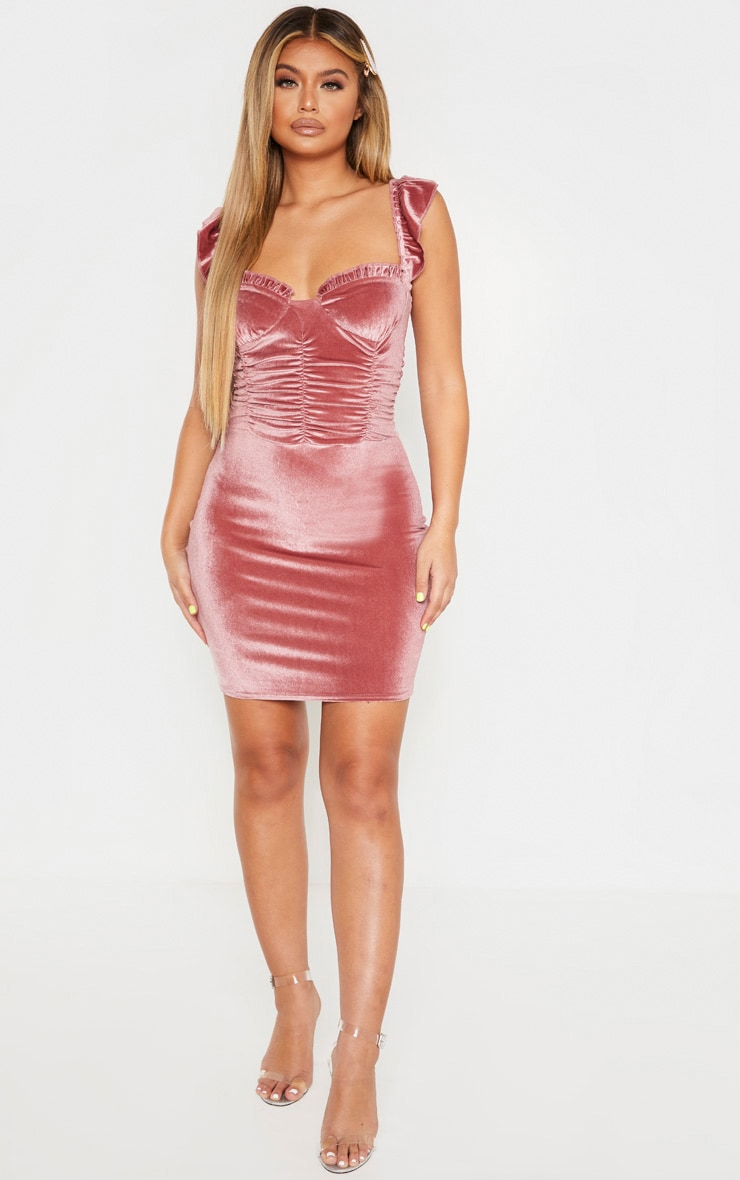 Pink Sleeveless Ruched Detail Bodycon Dress 4