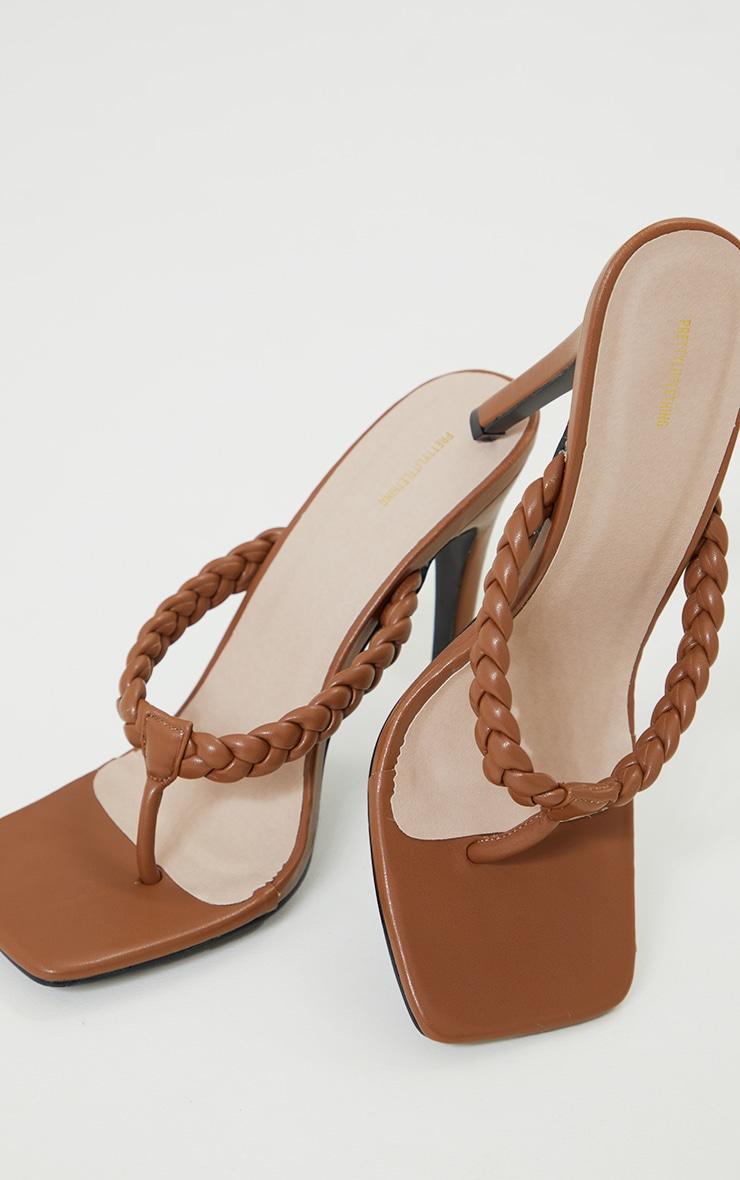 Chocolate Plaited Toe Thong High Heeled Mules 3