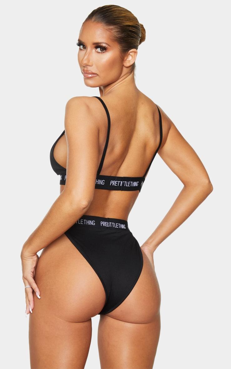 PRETTYLITTLETHING - Ensemble lingerie noir top triangle et culotte taille haute élastique 2