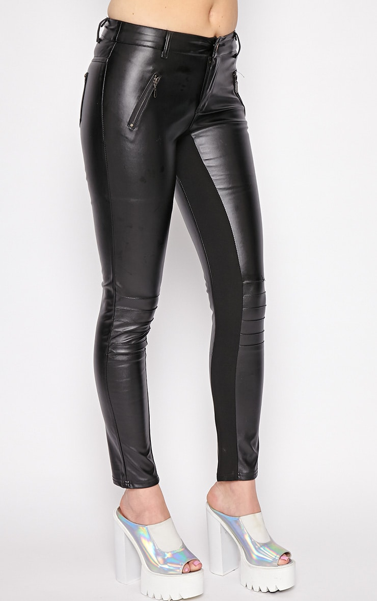 Augustina Black Leather Trousers 3