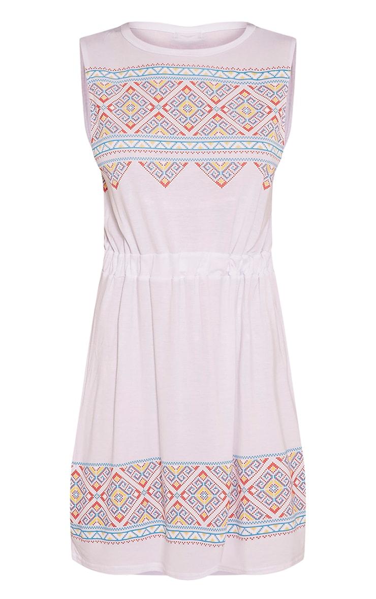 Felicity White Embroidered Print Sleeveless Beach Dress 3