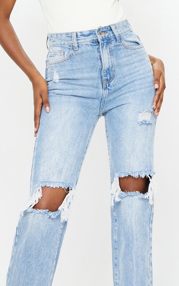 Tall Light Wash Extra Long Distressed Straight Leg Jean 4