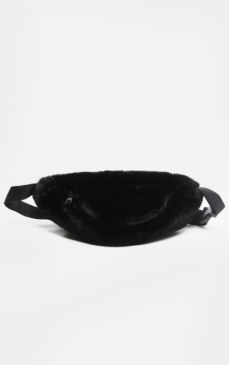 Black Faux Fur Large Bum Bag  2