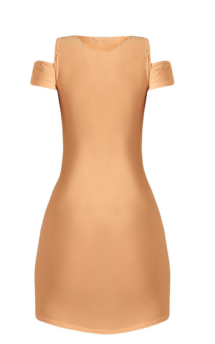 Cream Cold Shoulder Bodycon Dress  3