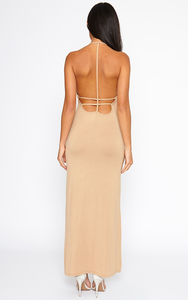 Kerry Camel Caged Back Maxi Dress 2