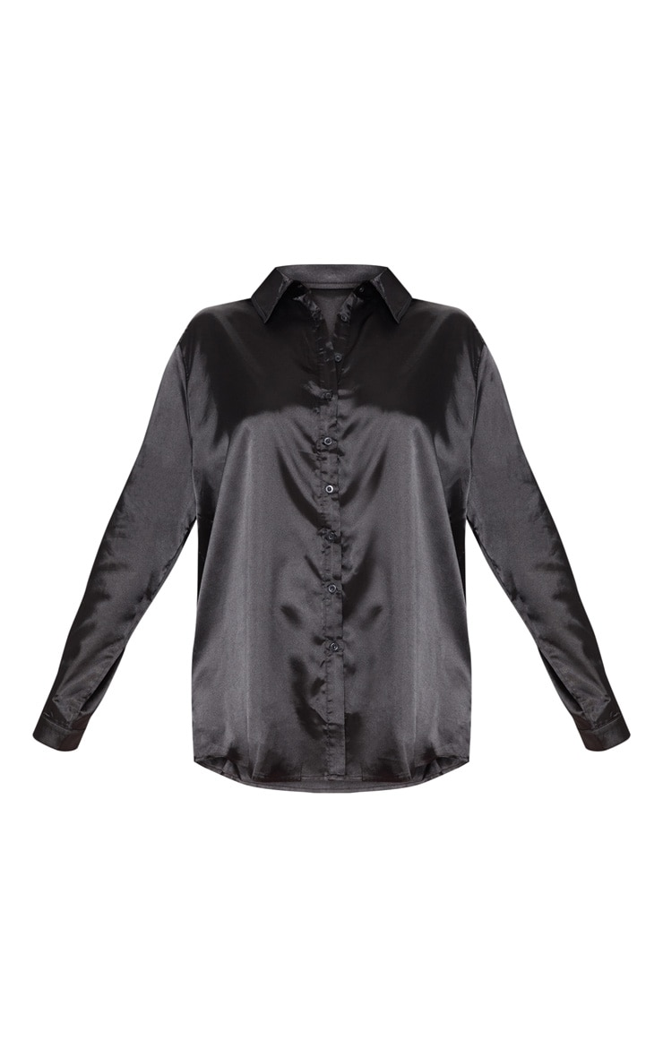 Plus Black Satin Button Front Shirt 3
