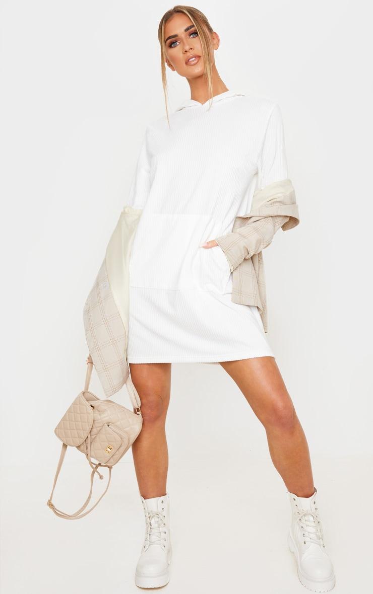 White Soft Rib Oversized Long Sleeve Hoodie Jumper Dress 3