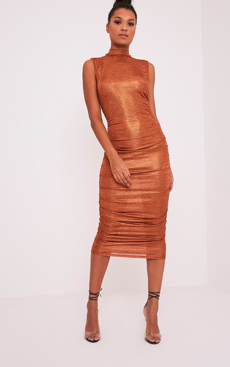 Alexia Copper Metallic High Neck Midi Dress 5