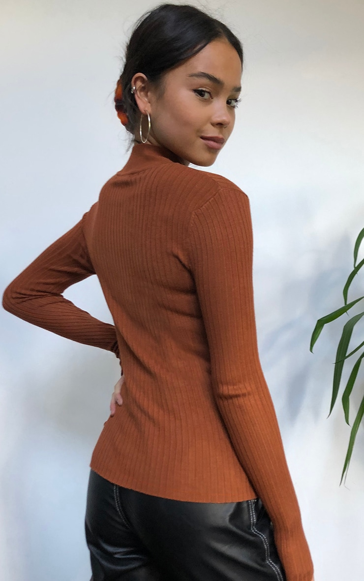 Rust Zip Up Front Knitted Rib Top 2