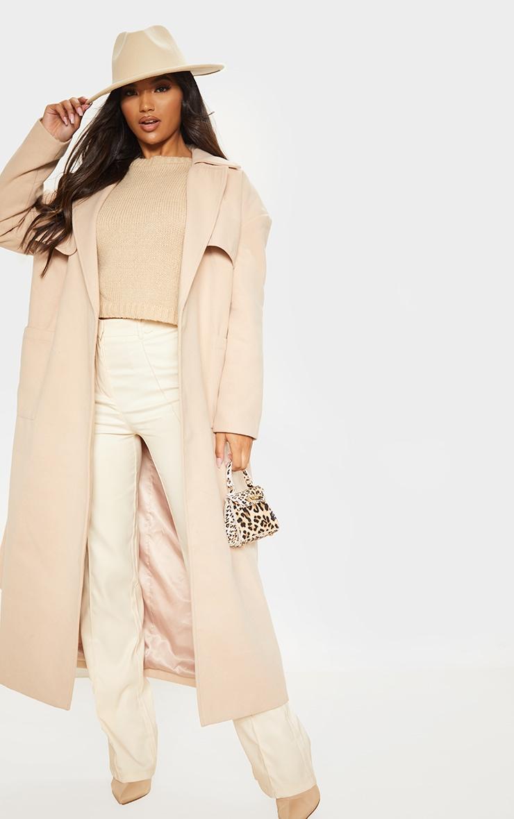 Stone Maxi Belted Coat 1