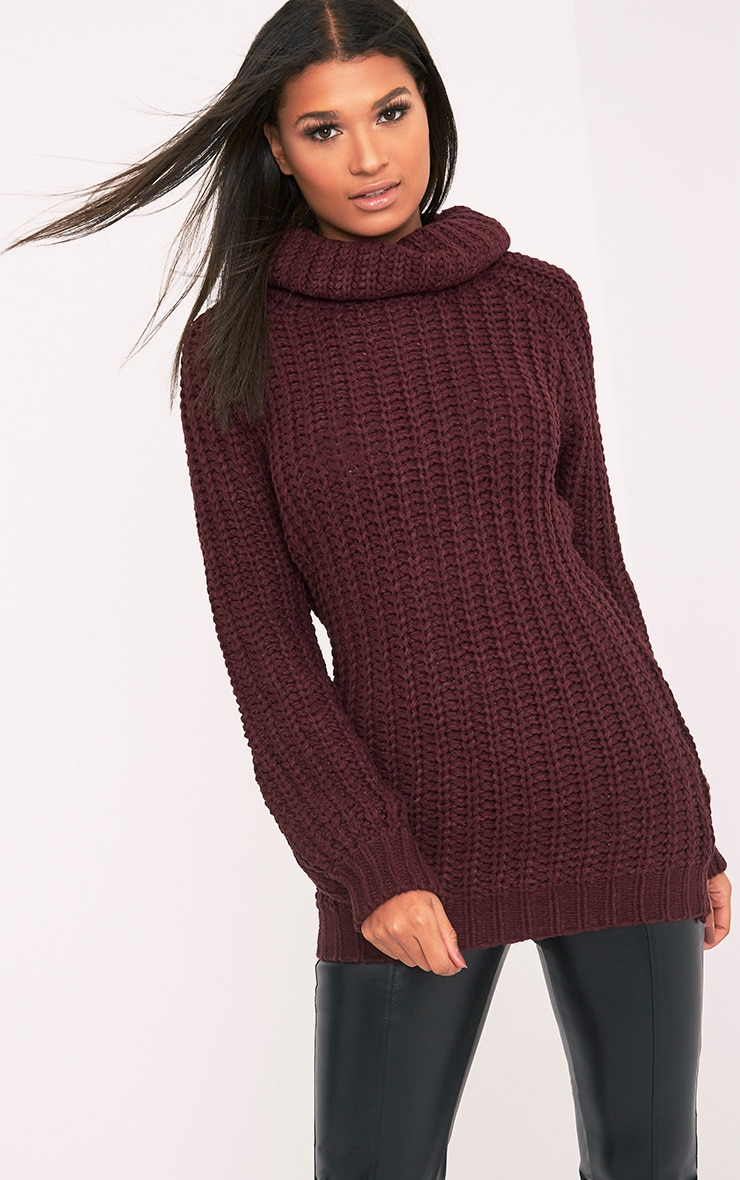Shainel Burgundy Roll Neck Chunky Knit Jumper 1