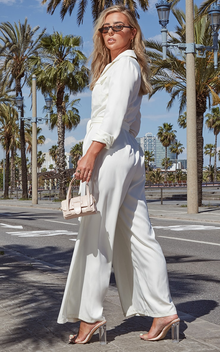 Cream Belt Detail Wide Leg Cargo Jumpsuit 2