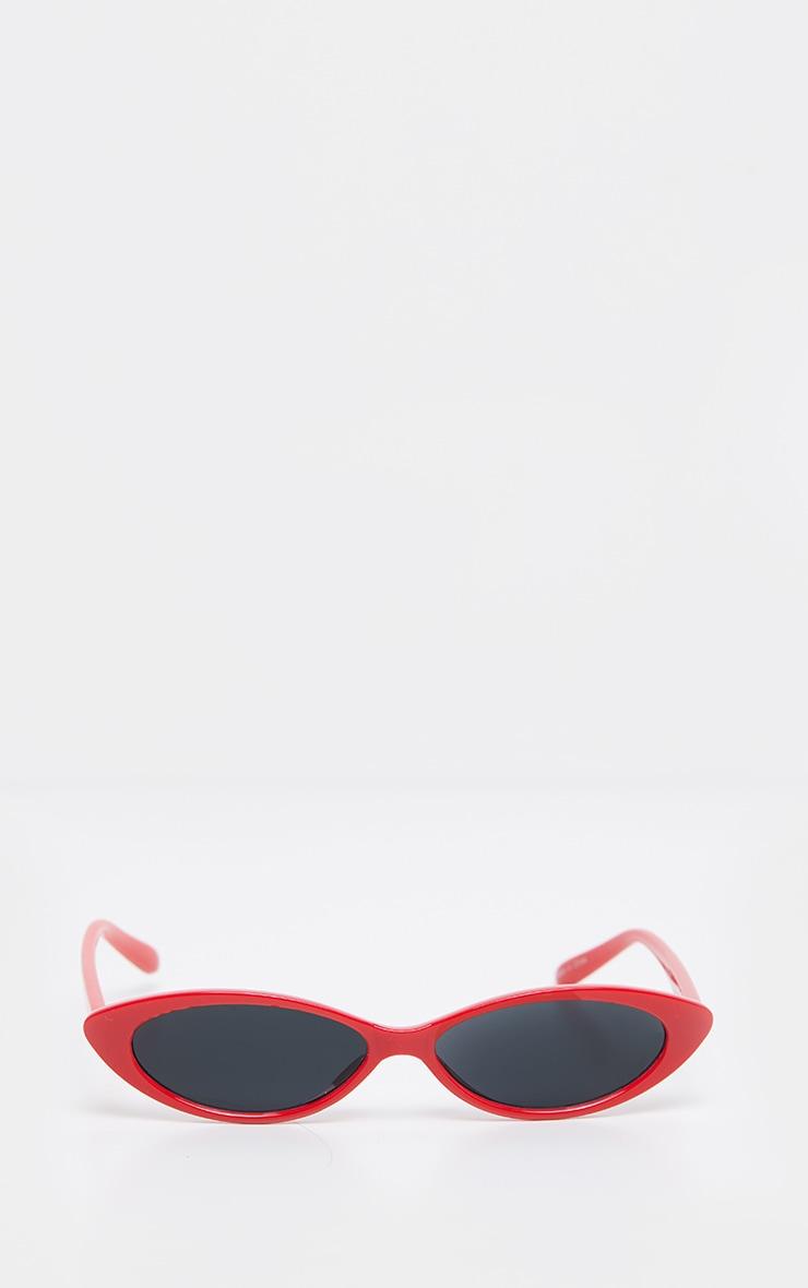 Red Frame Black Lens Slim Cat Eye Sunglasses 2