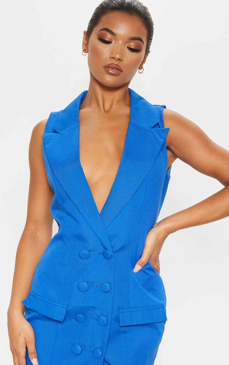 Cobalt Extreme Plunge Sleeveless Blazer Dress 5