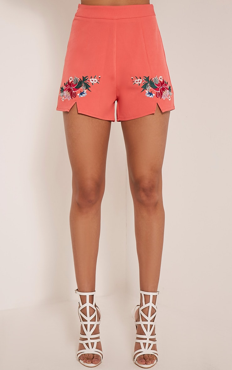 Charis Coral Floral Embroidered Shorts 3