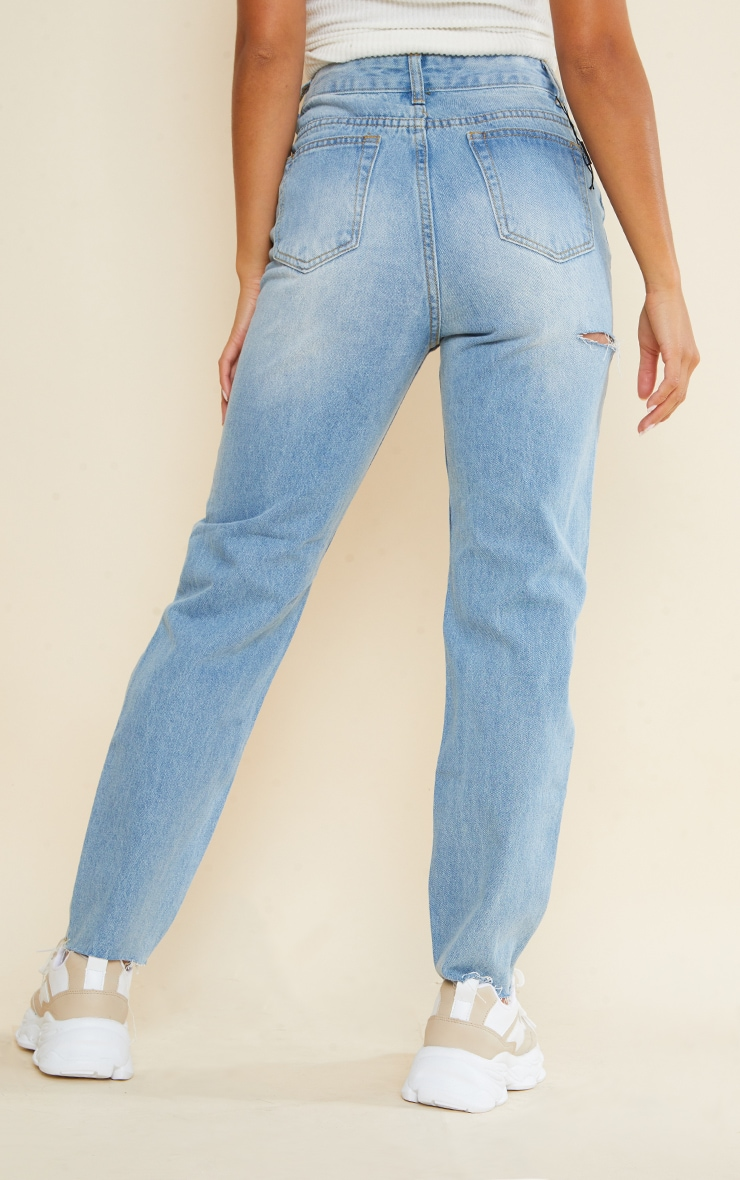 Petite Light Wash Ripped Mom Jeans 3