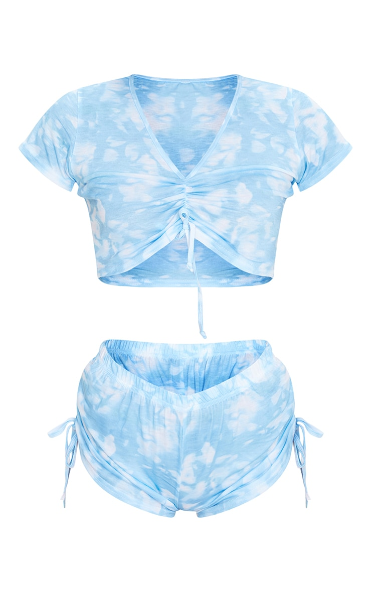 Baby Blue Tie Dye Ruched Top And Short PJ Set 5