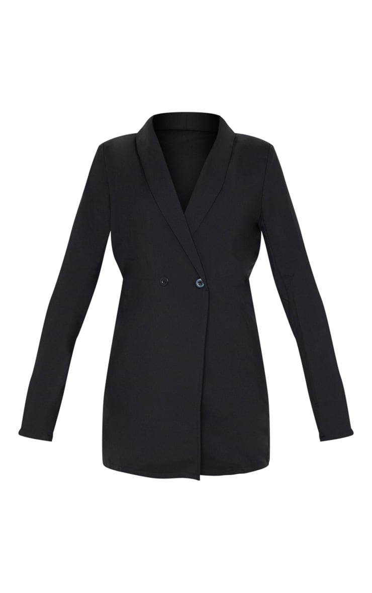 Black Shoulder Pad Double Button Blazer 3