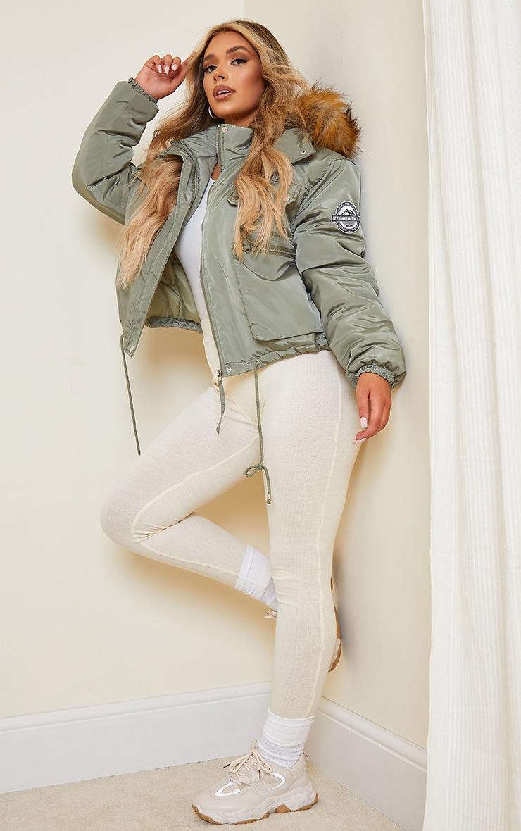 PRETTYLITTLETHING Khaki Cropped Removable Faux Fur Hooded Parka  3