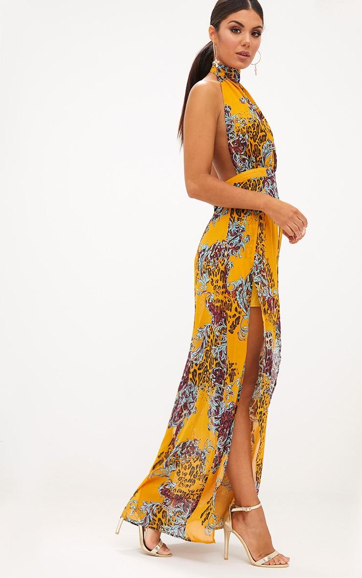 Mustard Animal Print Maxi Dress 2