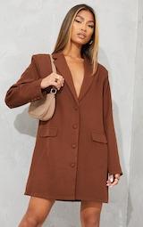 Chocolate Long Sleeve Oversized Shoulder Pad Blazer Dress 1