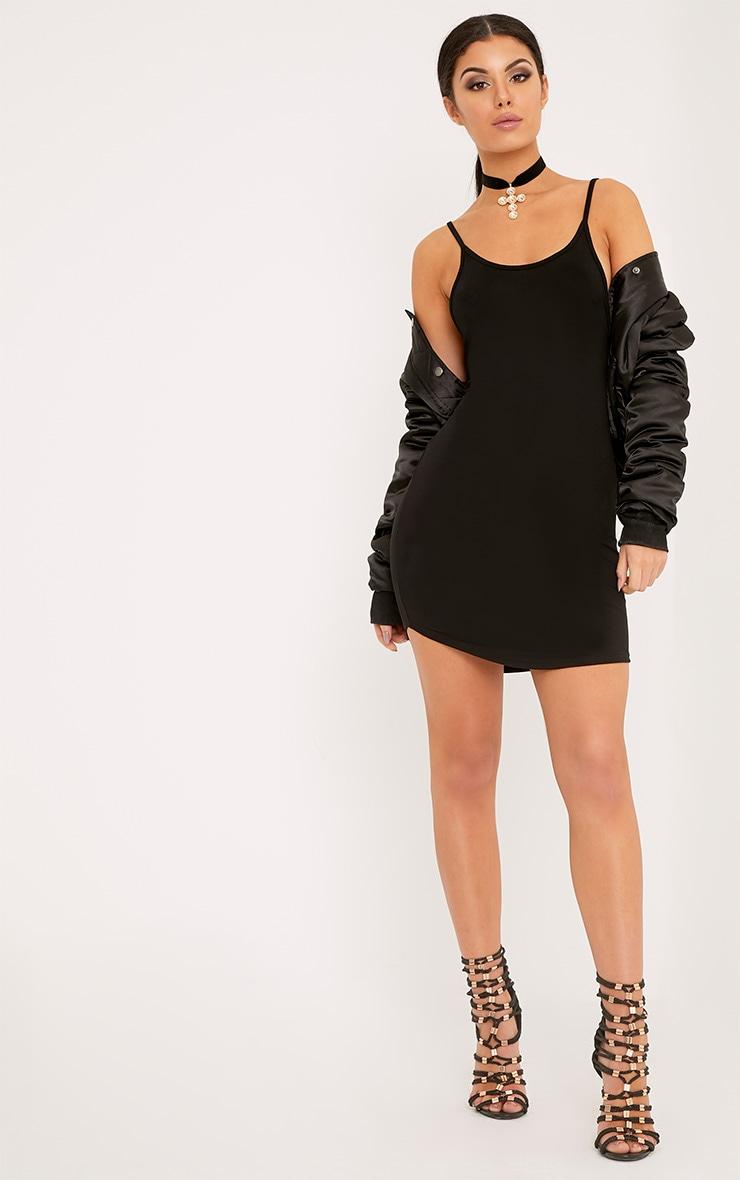 Basic robe mini noire à bretelles en jersey 4