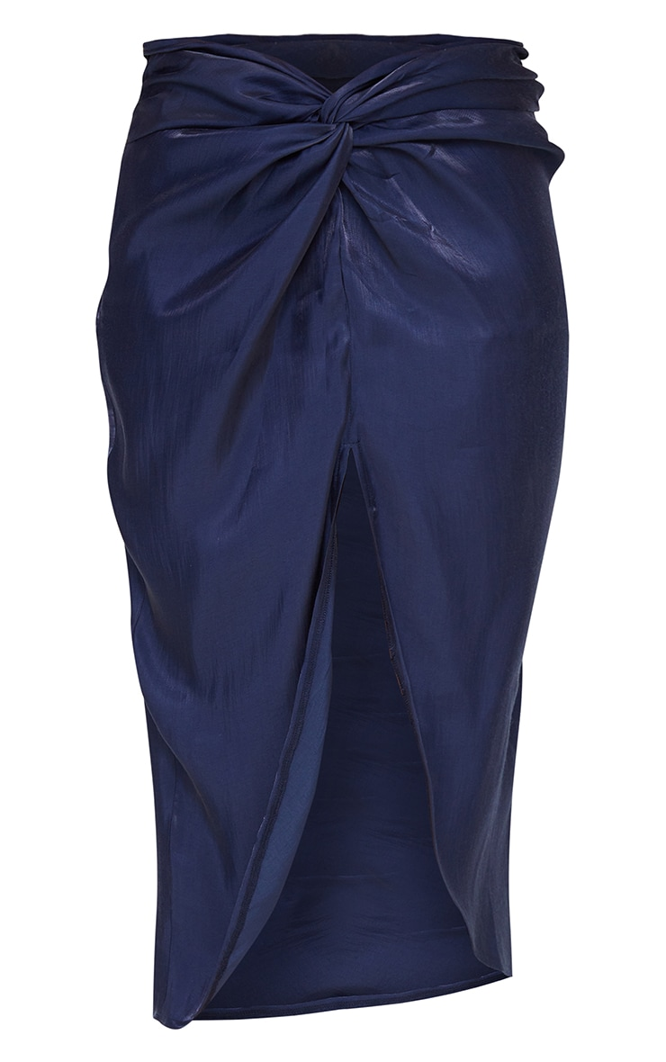 Petrol Blue Ruched Front Midi Skirt 6
