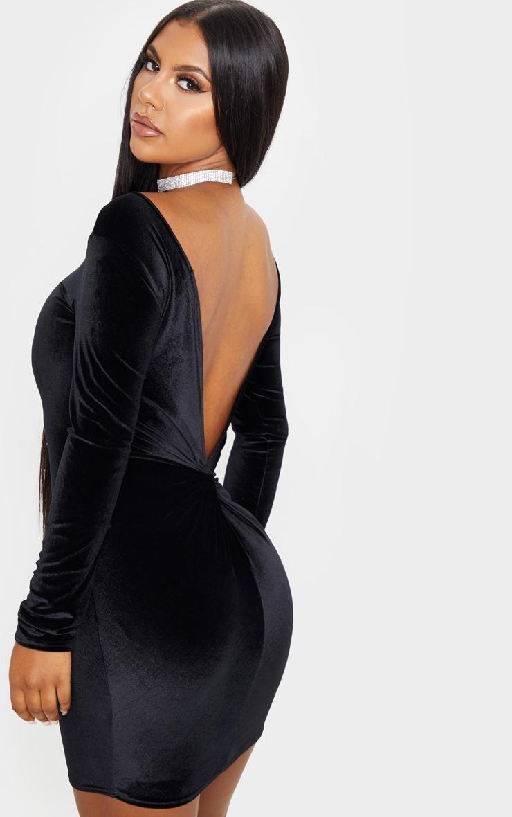 Black Velvet Long Sleeve Twist Back Bodycon Dress 1