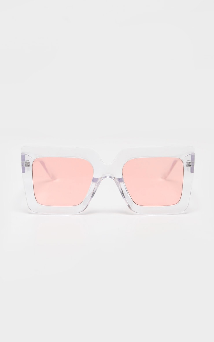 Pink Lens Angular Frame Retro Sunglasses 2