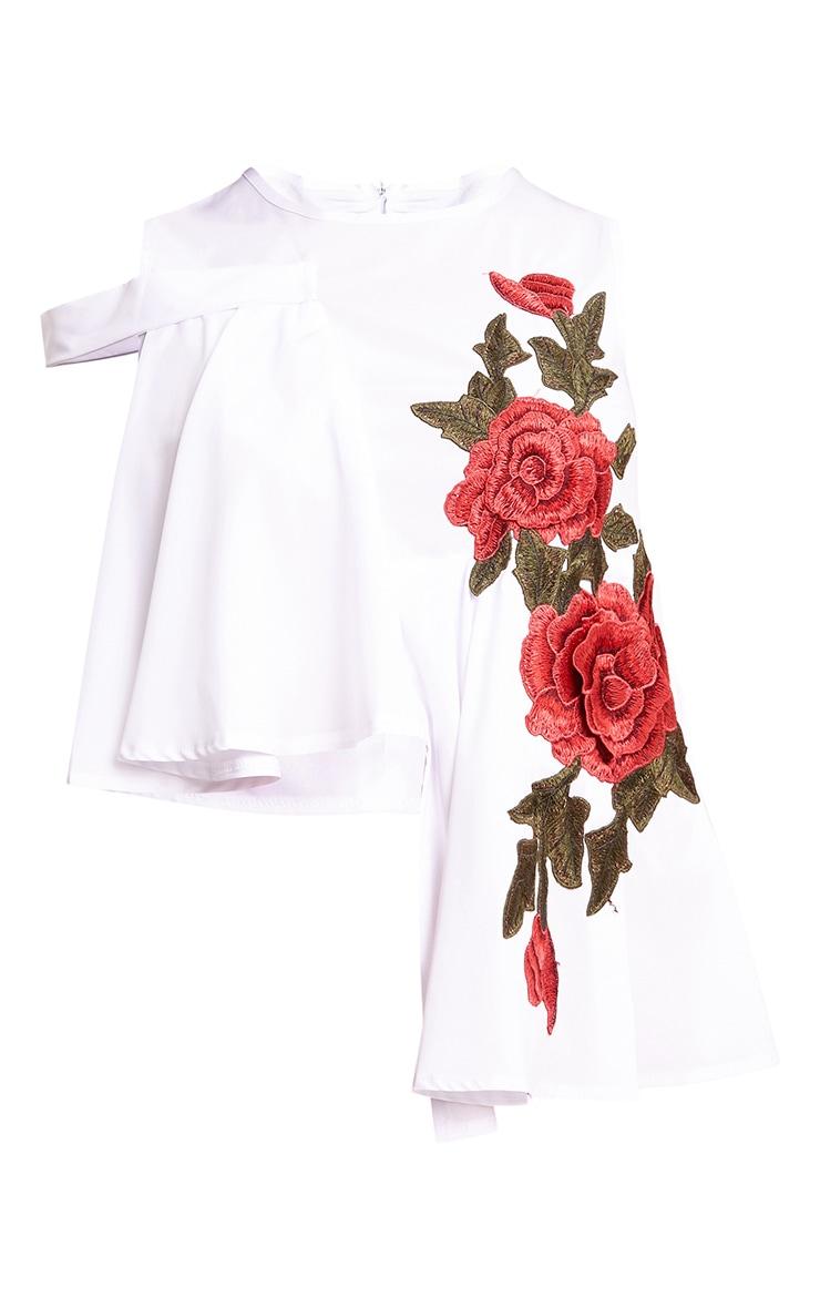White 3D Floral Applique Shirt  3