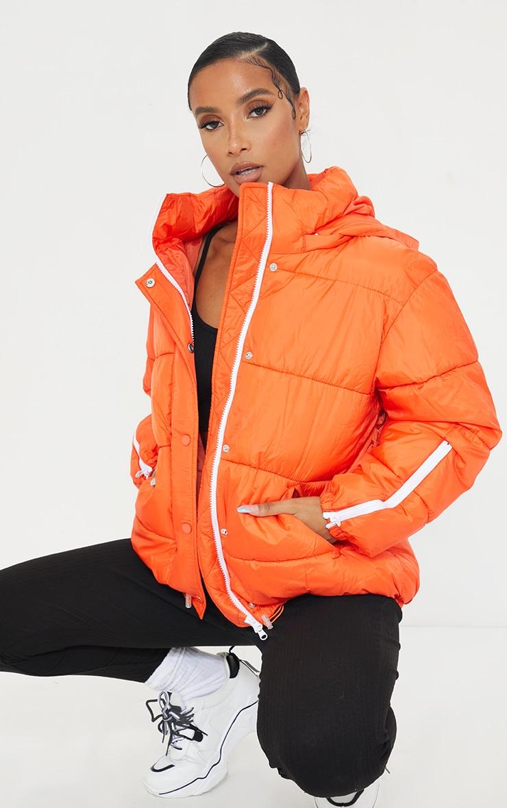 Orange Nylon Oversized Zip Sleeve Puffer Jacket 3