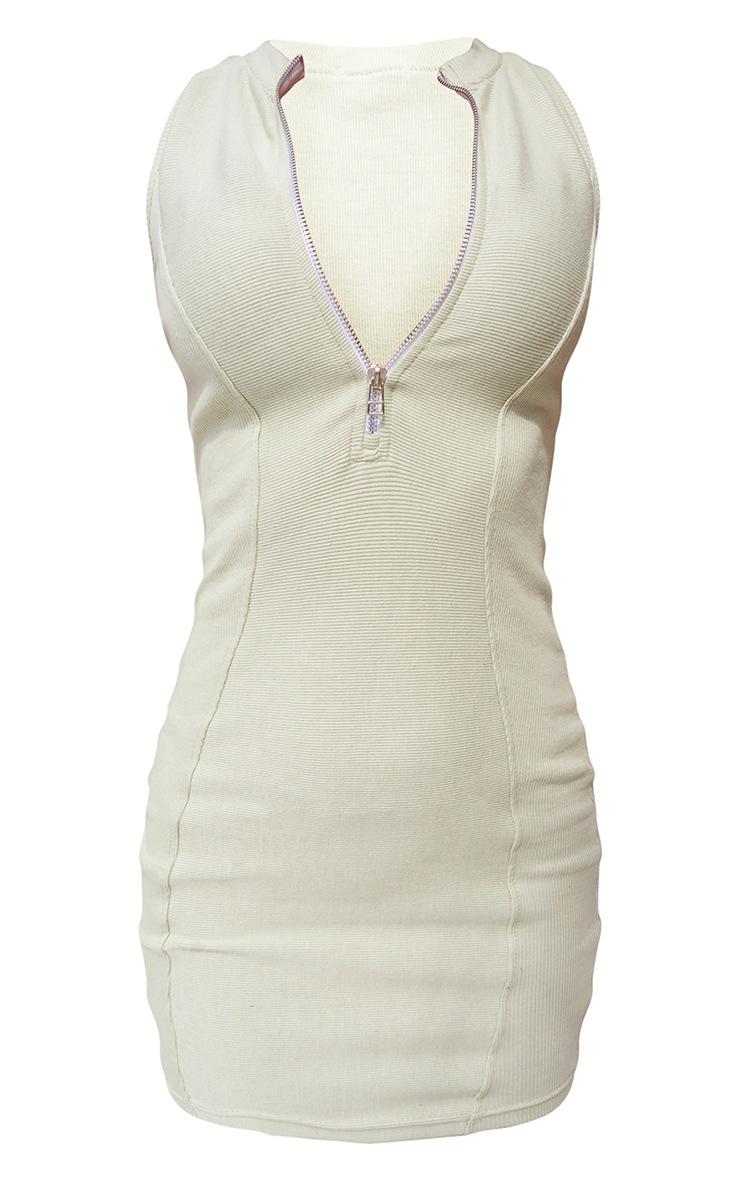 Sage Green Thick Rib Contour Detail Zip Neck Bodycon Dress 5
