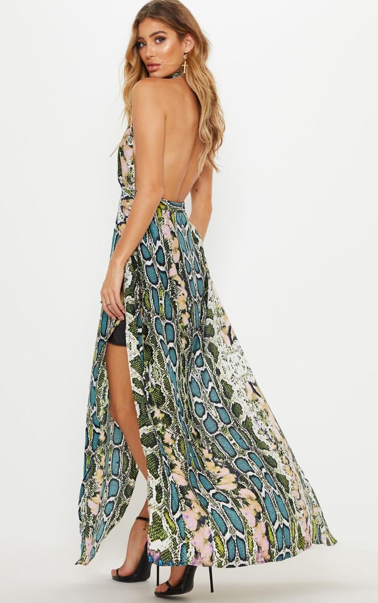 Green Snake Print Maxi Dress 2