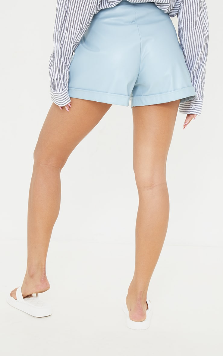 Baby Blue Faux Leather Pleat Detail Shorts 3