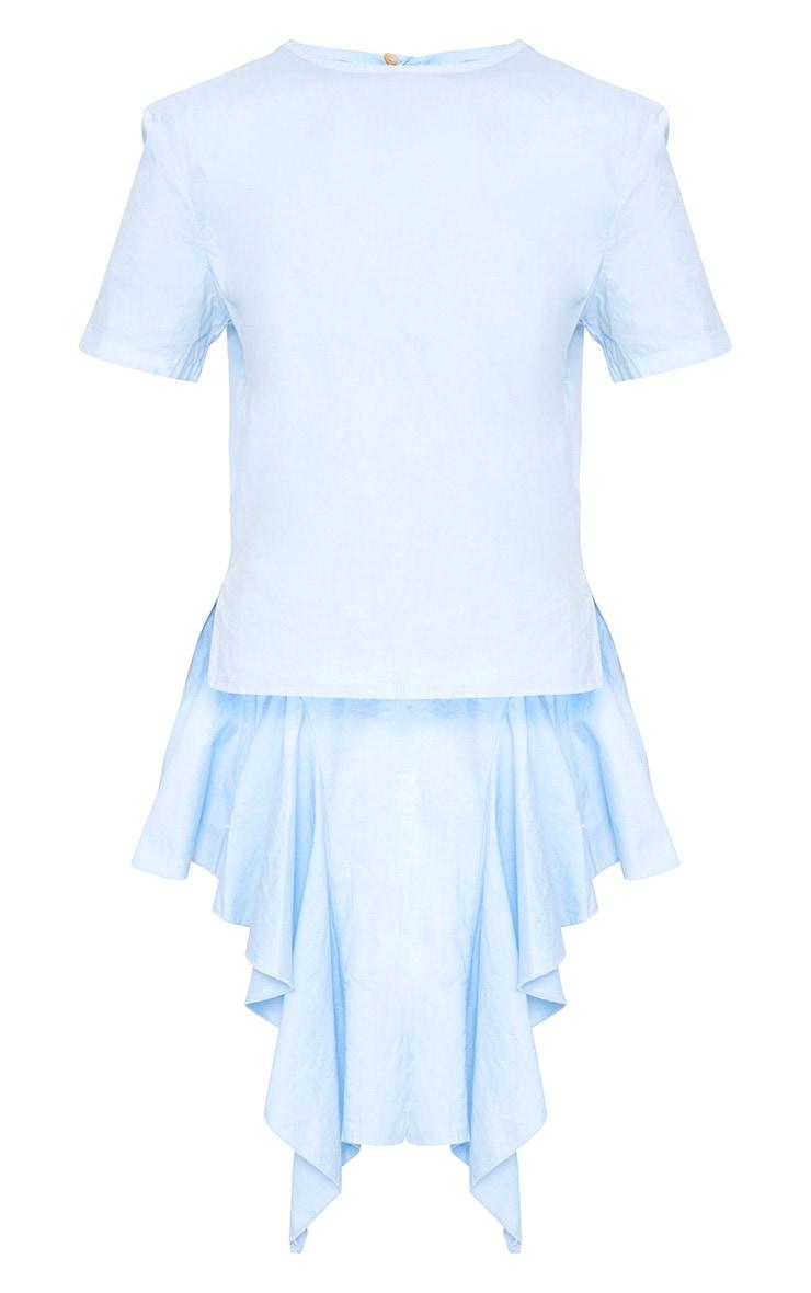 Sky Blue Drop Back Crew Neck Shirt 3