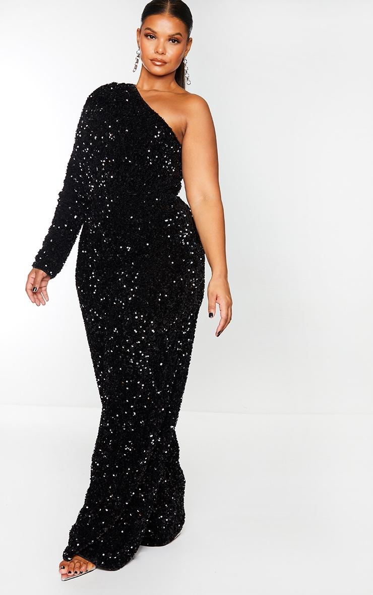 Plus Black Velvet Sequin One Shoulder Wide Leg Jumpsuit 3
