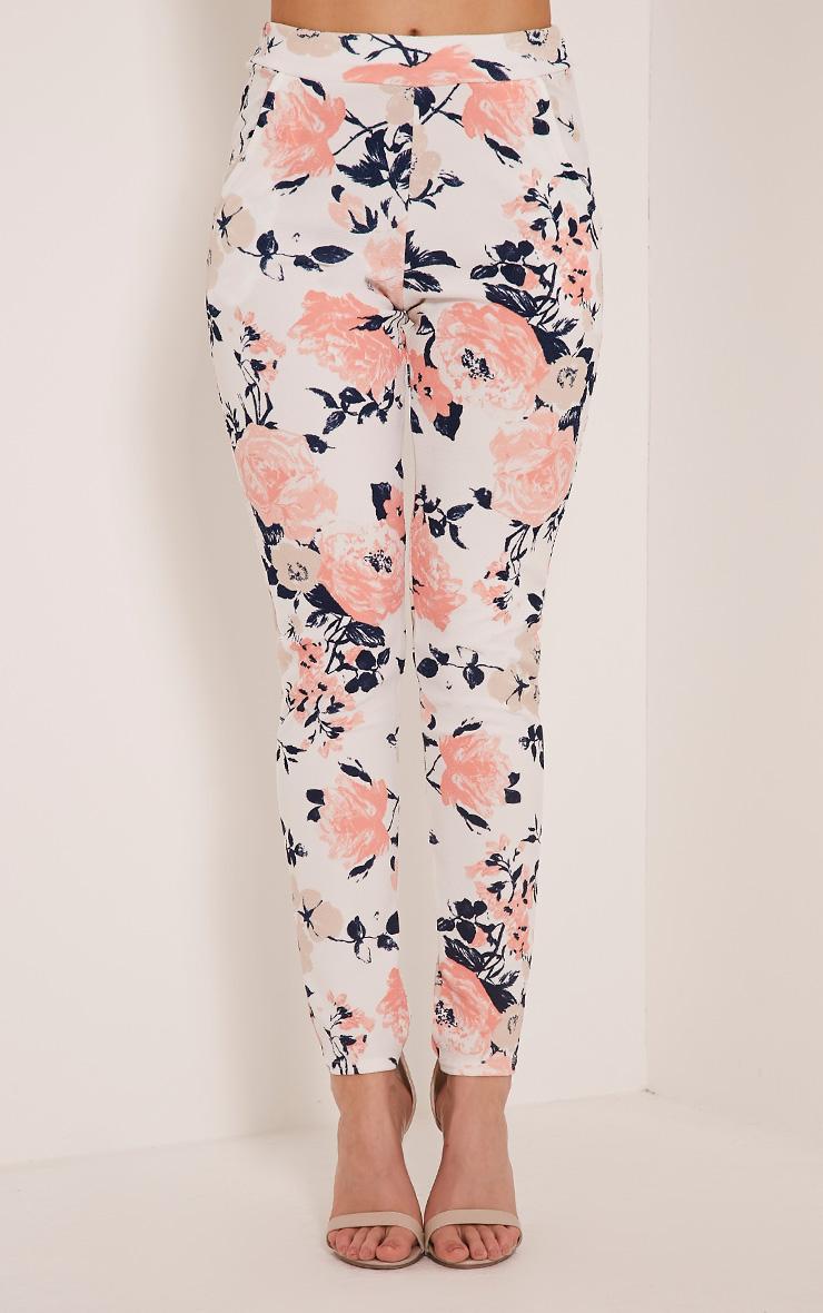 Erinna White Floral Print Crepe Cigarette Trousers 2