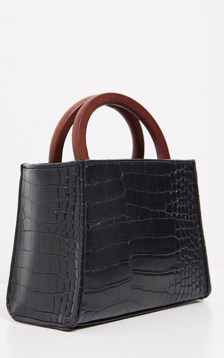 Black Croc Wooden Handle Mini Bag 3