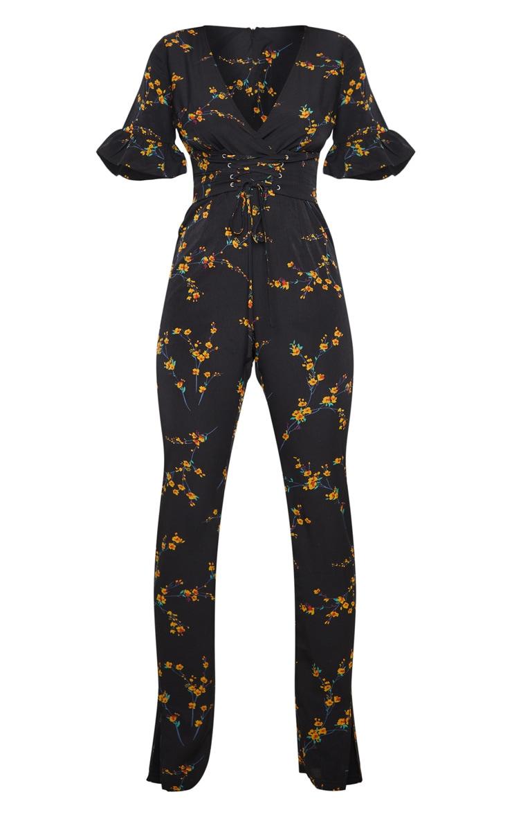 Black Floral Print Corset Frill Sleeve Jumpsuit 3