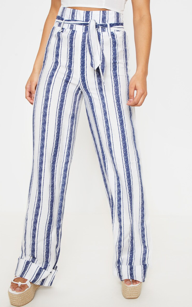 Navy Stripe Belt Waist Wide Leg Pants 2