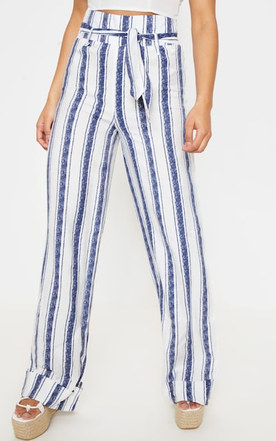 Navy Stripe Belt Waist Wide Leg Trouser