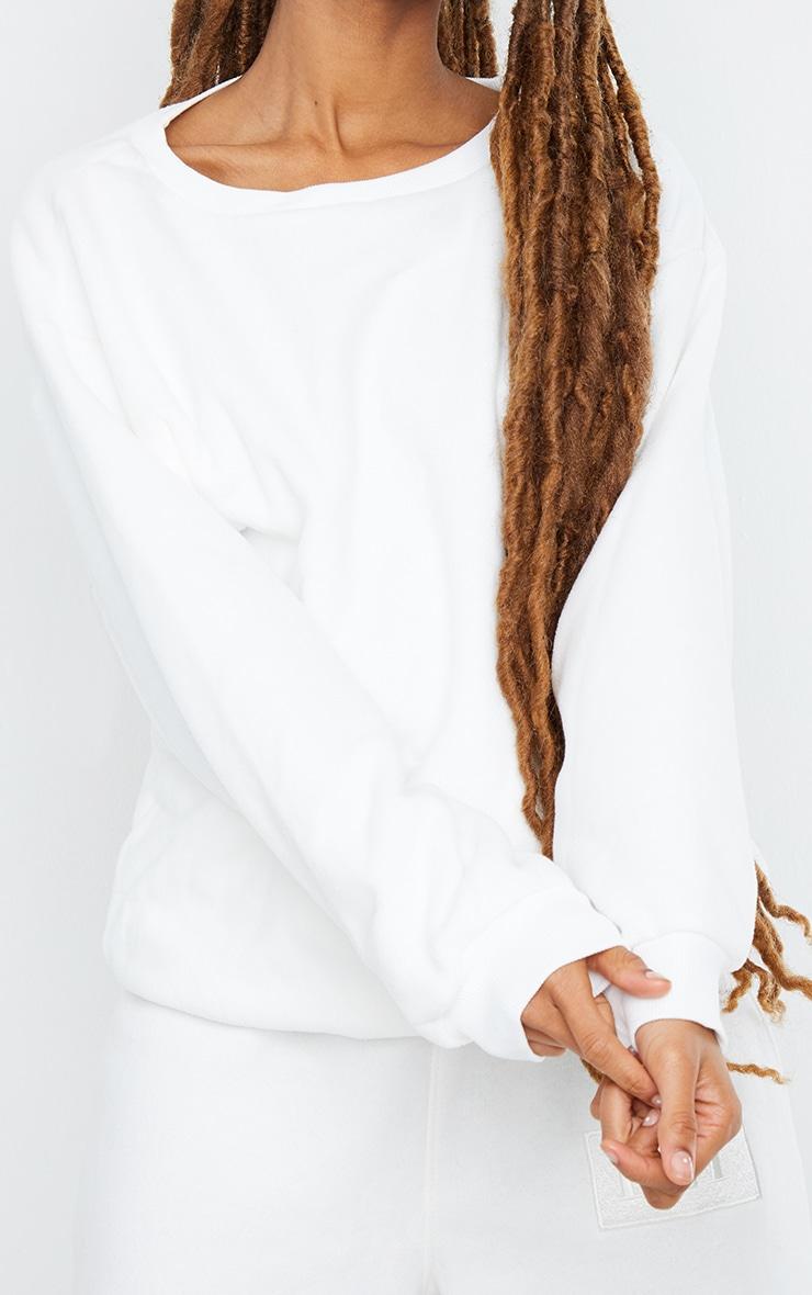 White Fleece Sweatshirt 4